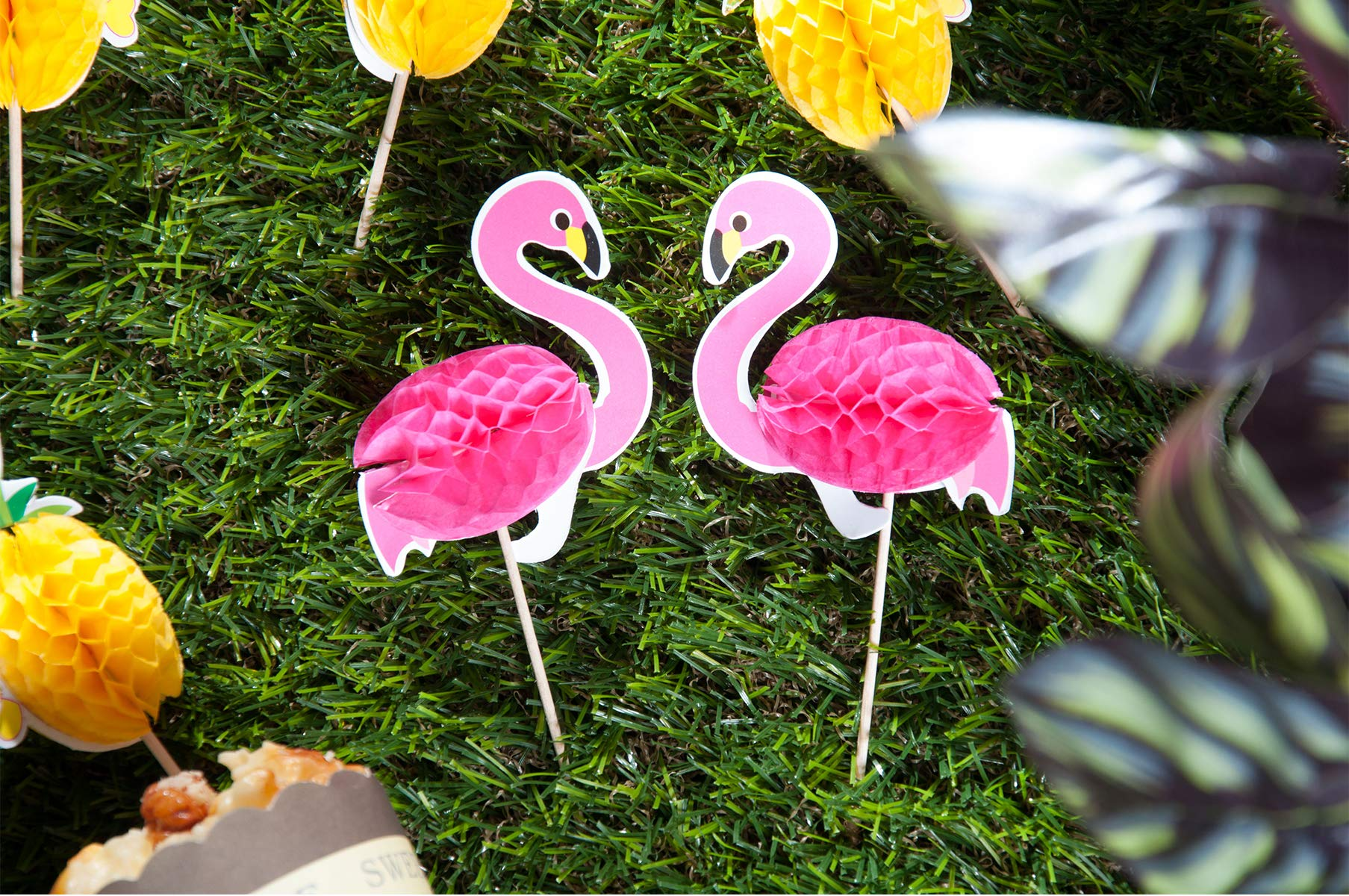 Lauren 48 Pcs Cupcake Toppers 3D Flamingo and Pineapple Cupcakes Toppers Food Picks Party Cocktail for Party Tropical Cupcake Picks Decoration by Lauren (Image #7)