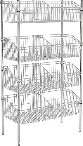 Nexel 4-Basket Shelving Unit, 36 W x 24 D x 63 H, Chrome Finish