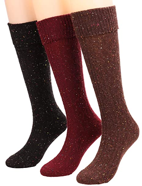 eea79cedf61fa 3 Pairs Womens Fall Winter Knee High Sock Wool Knit Mid Calf Boot Socks W80  (