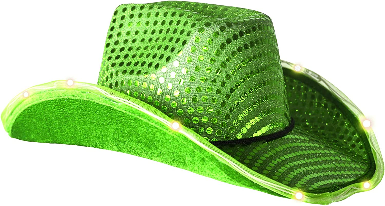Glowsource LED Green Tube Cowboy Hat 2-Pack