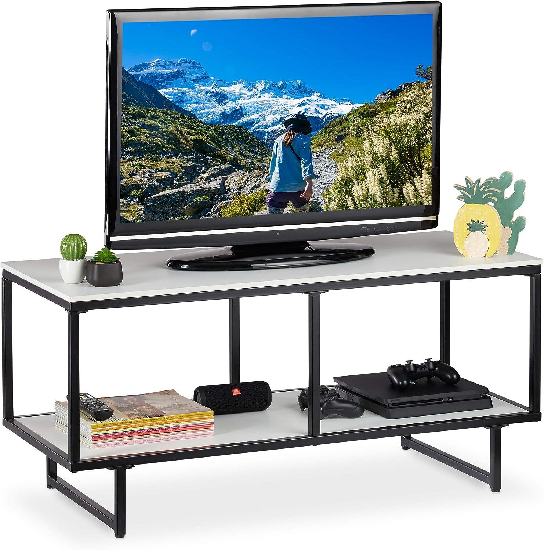 Relaxdays Mueble TV, Mesa Televisión, Diseño Abierto, 2 Repisas, DM-Melanina-Metal, 50,5 x 110,5 x 45,5 cm, Blanco-Negro: Amazon.es: Juguetes y juegos