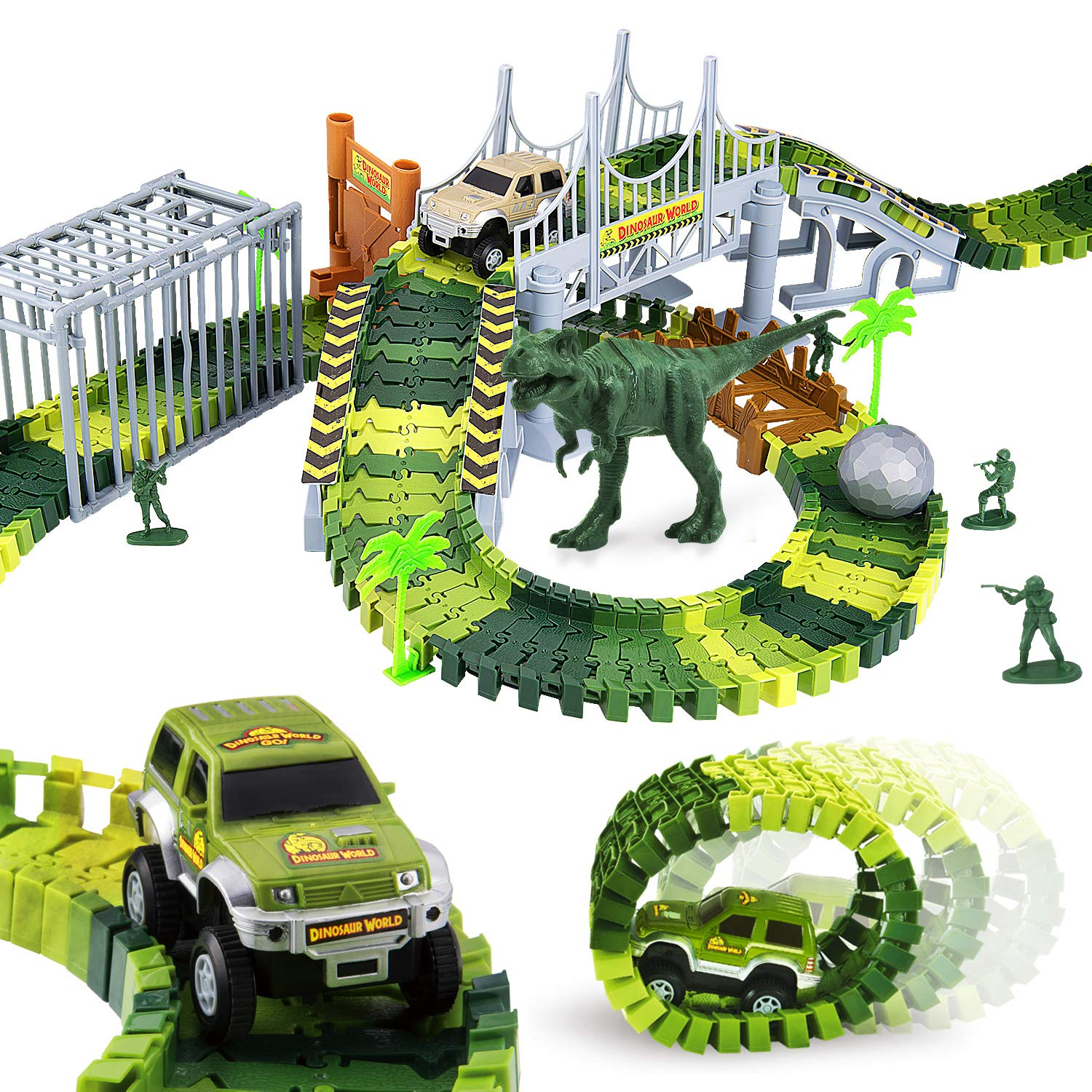 Elongdi Dinosaur World Slot Car Race [ 144 Track Pieces ] Create a Road Track Sets with Tracks, 2 Trucks, 2 Dinosaurs Toys for Kids 3 4 5 6 7 8 Years Old Boys Girls Jurassic Prehistoric World Gift