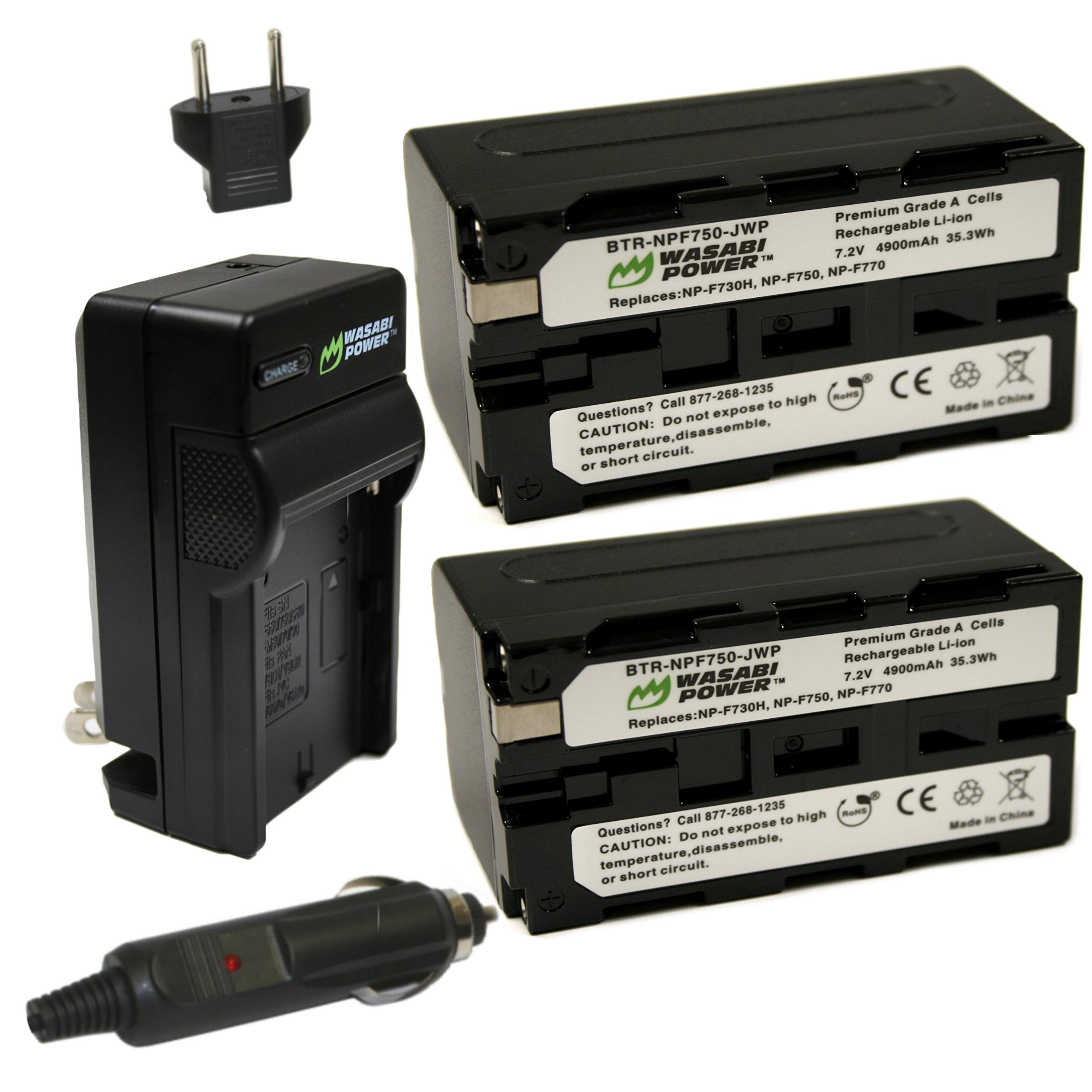 Wasabi Power Battery (2-Pack) and Charger for Sony NP-F730, NP-F750, NP-F760 and NP-F770 by Wasabi Power