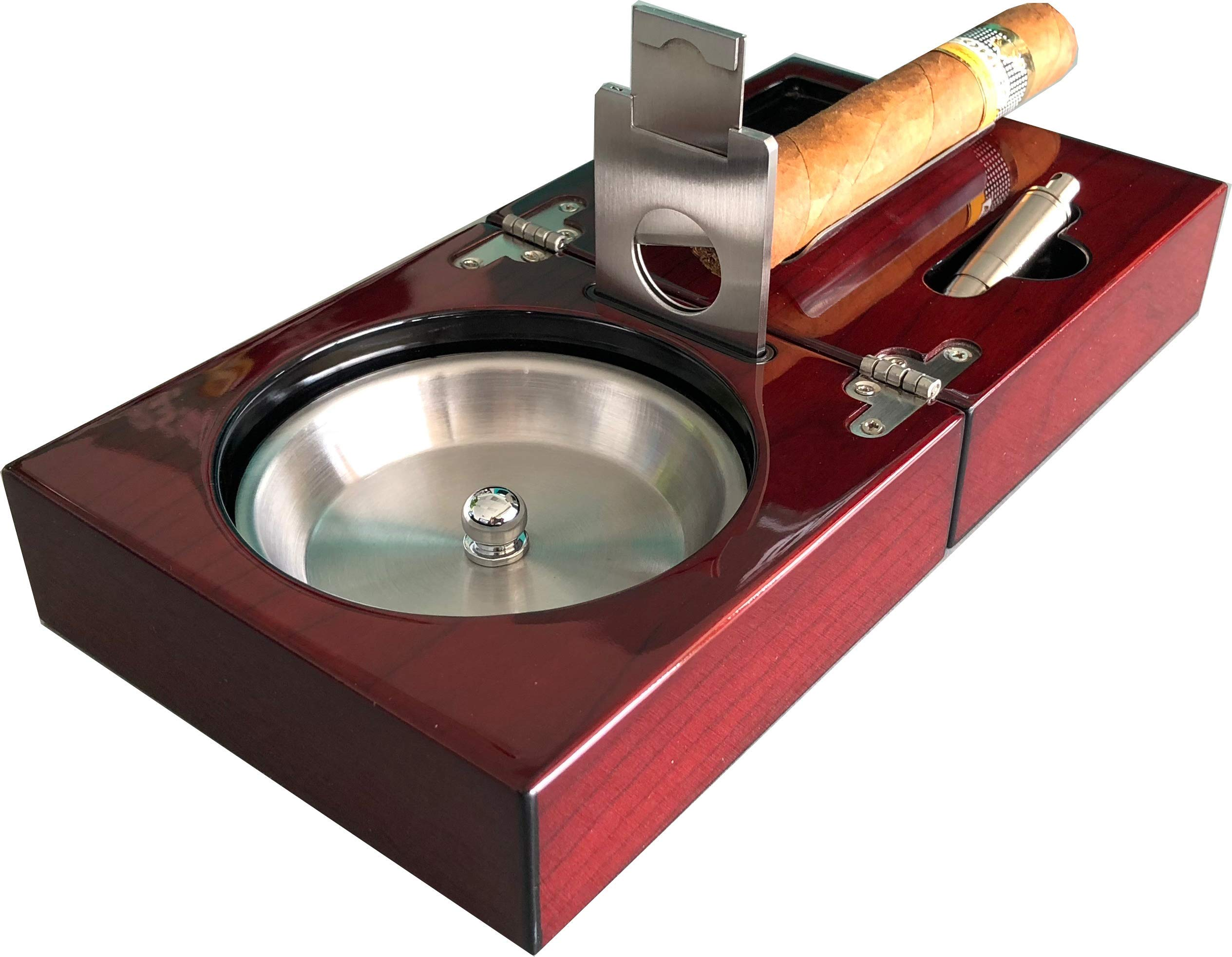 H&H The Compact Cigar Ashtray with Cigar Cutter and Punch - Cherry - (4.75 x 4.75 x 2.8) by H&H