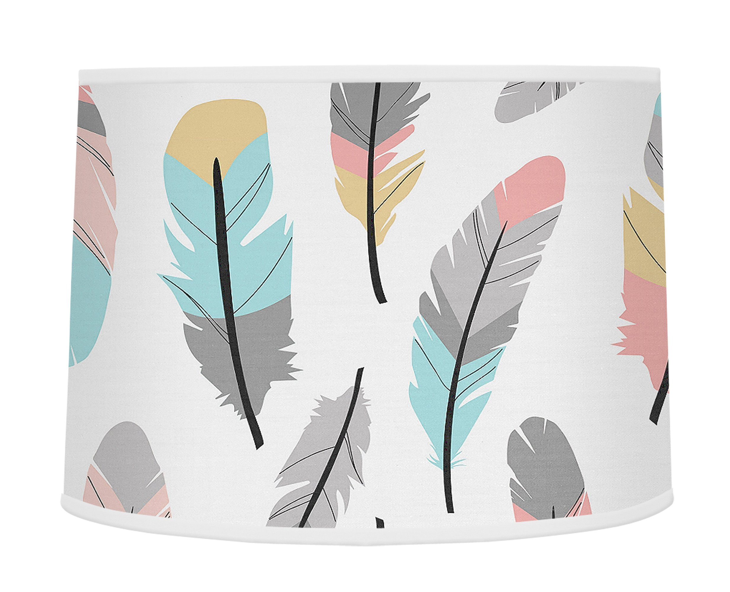 Sweet Jojo Designs Multicolored Feather Print Girls Baby Childrens Lamp Shade for Feather Collection