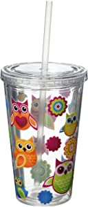 Spoontiques Double Walled Insulated Reusable Acrylic Cup with Straw, 16 ounces, Multicolor