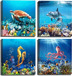 Children's Room Wall Decor Home Decorations for Bedroom Blue Ocean Nautical Theme Canvas Wall Art Turtle Starfish Dolphin Coral Reef Gift Artwork 4 Panels 14