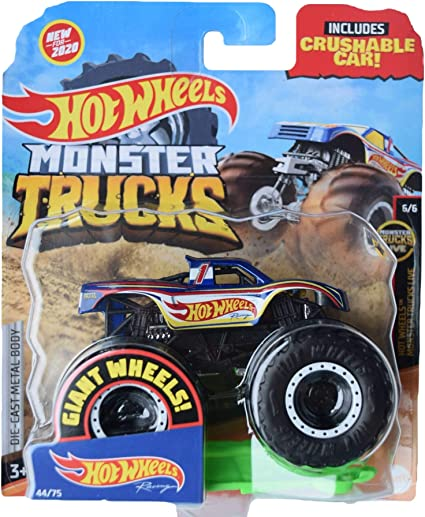 Amazon Com Hot Wheels Monster Trucks 1 64 Scale Racing 44 75 Includes Crushable Car Blue Toys Games