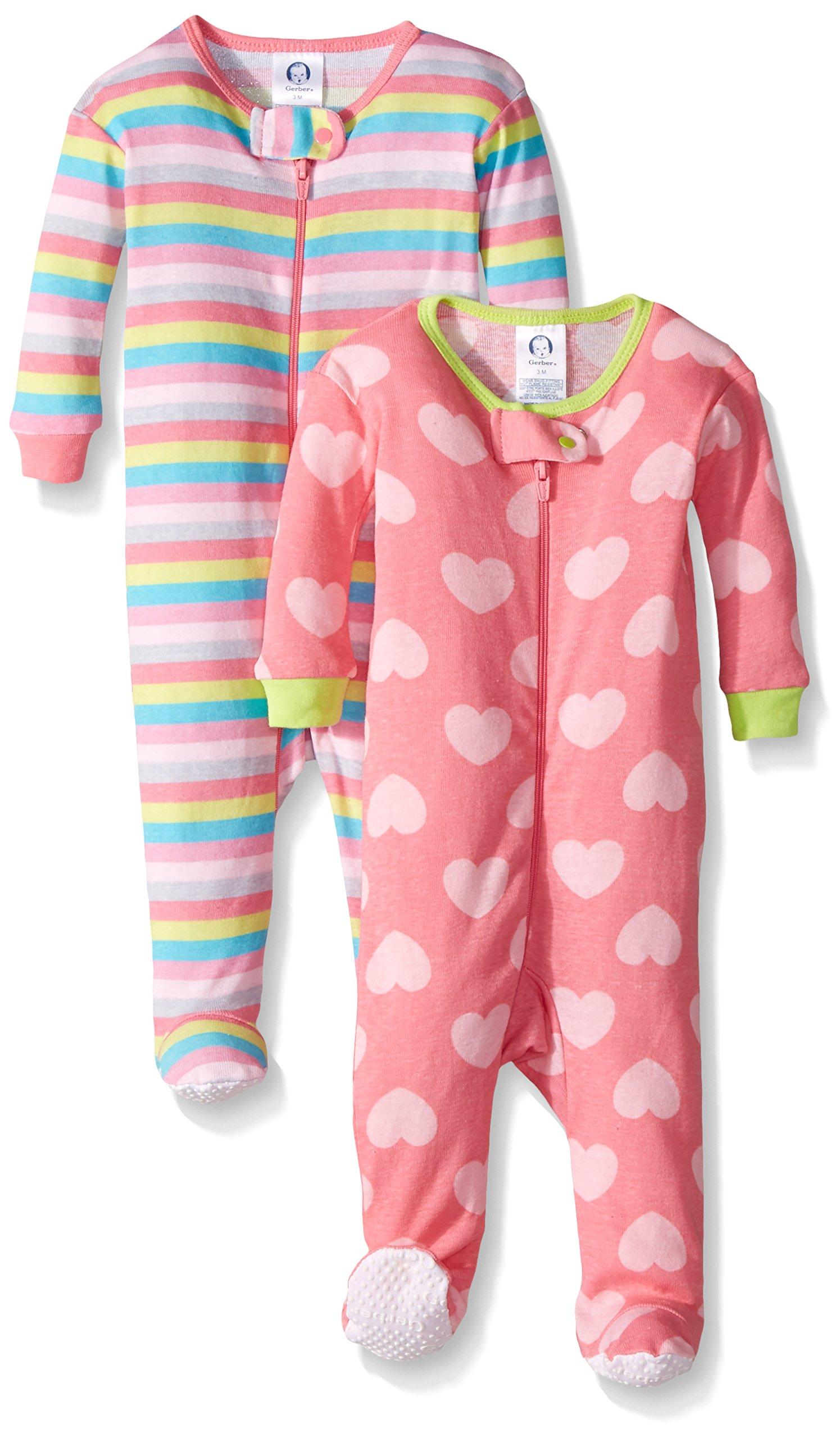 Gerber Baby Girls 2 Pack Footed Sleeper b6f4fa0c6