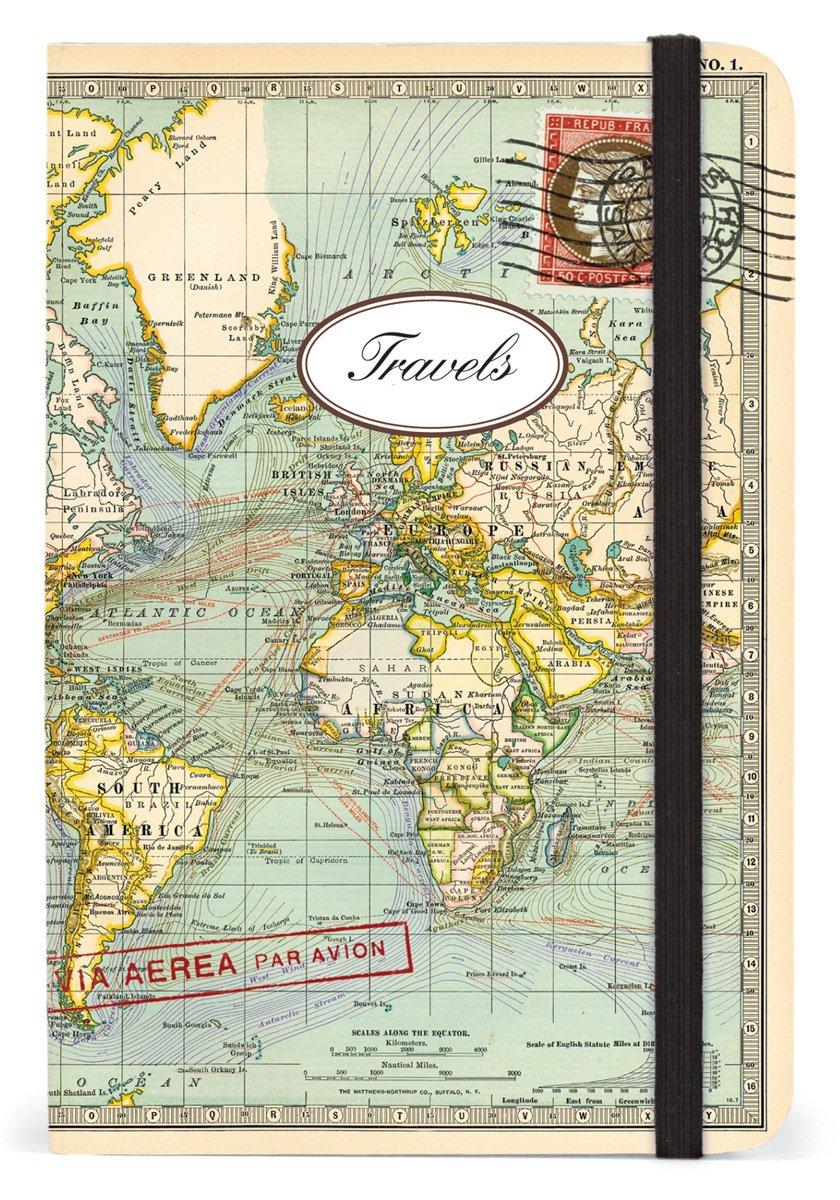 Cavallini Small Notebooks World Map 2 Travels 4 x 6