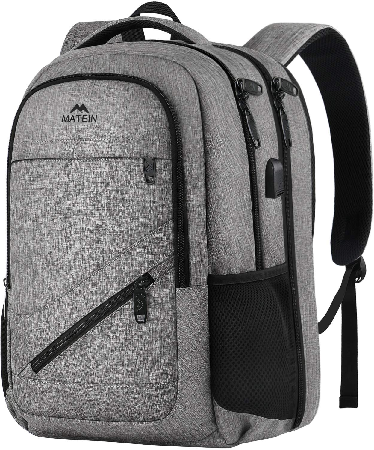 Laptop Backpack 17.3 Inch, TSA Large Travel Backpack for Women Men, MATEIN Water Resistant College School Bookbag, Business Flight Approved Carry On Backpack with USB Charger Port and Luggage Sleeve by MATEIN