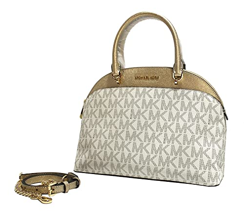 a0e902e88506 MICHAEL Michael Kors Emmy SM Dome Satchel Crossbody (Signature MK Vanilla Pale  Gold)  Amazon.co.uk  Shoes   Bags