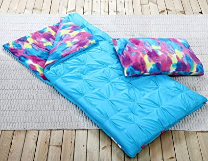 quality design 4c414 e9e06 Sleeping Bag and Pillow Cover, Blue Tie-Dye Indoor Outdoor Camping Youth  Kids Girls