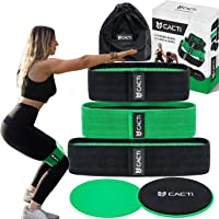 Hip Circle Resistance Bands & Core Slider Exercise Set - 3 Fitness Booty Band for Legs, Glutes, Abs, Butt, Shoulders & Arms - Non Slip & Non-Rolling Fabric Resistance Bands & 2 Strength Slides
