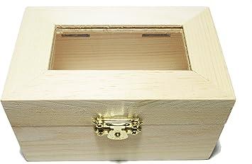 Caja de madera – Cofre del Tesoro – Madera de pino – Rectangular – con tapa de cristal (en acrílico – Cierre metálico – Small – (1 x 1pieza): Amazon.es: Salud y cuidado personal