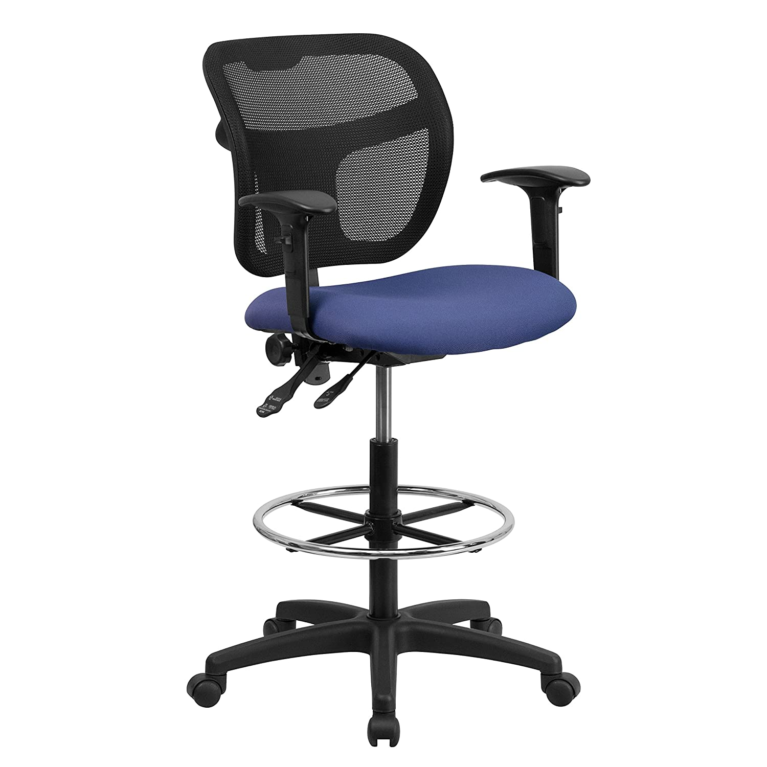 Navy bluee Mid-Back Mesh Drafting Stool with Black Fabric Seat and Arms [WL-A7671SYG-BK-AD-GG]