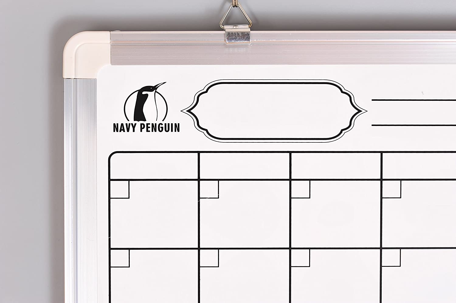 Navy Penguin Whiteboard Monthly Wall Calendar Set 4 Dry Wipe Pens 24 x 18 Magnetic Planner Dry Erase//Cork Board with 1 Magnetic Eraser 4 Magnets and 10 Pins Small White Bulletin Vision Board