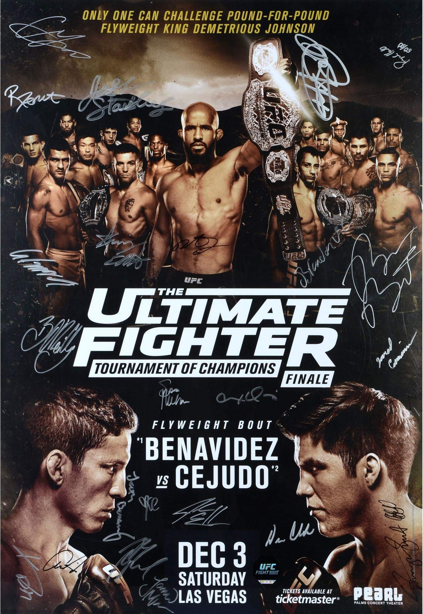 "The Ultimate Fighter Season 24 Tournament of Champions Finale Johnson vs. Elliott Autographed 27"" x 39"" 24 Signature Fight Poster Fanatics Authentic Certified"