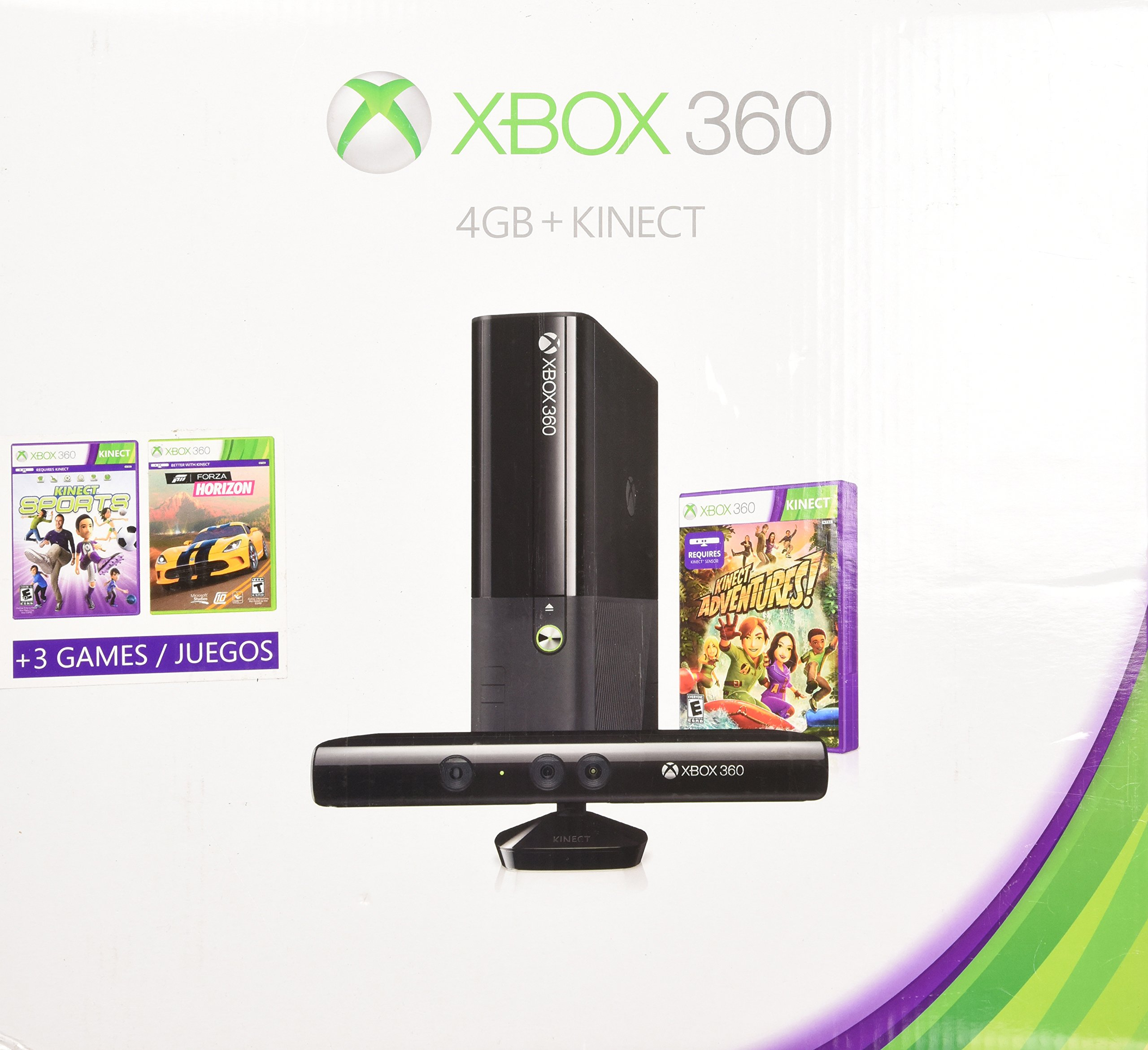 Xbox 360 4gb Kinect Holiday Bundle with 3 Games Forza Horizons, Kinect Sports, and Kinect Adventures by Microsoft