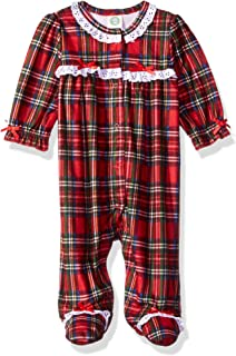 35819fa4daeb Amazon.com  Little Me Baby Girl s Girls Plaid Christmas Footie (9 ...