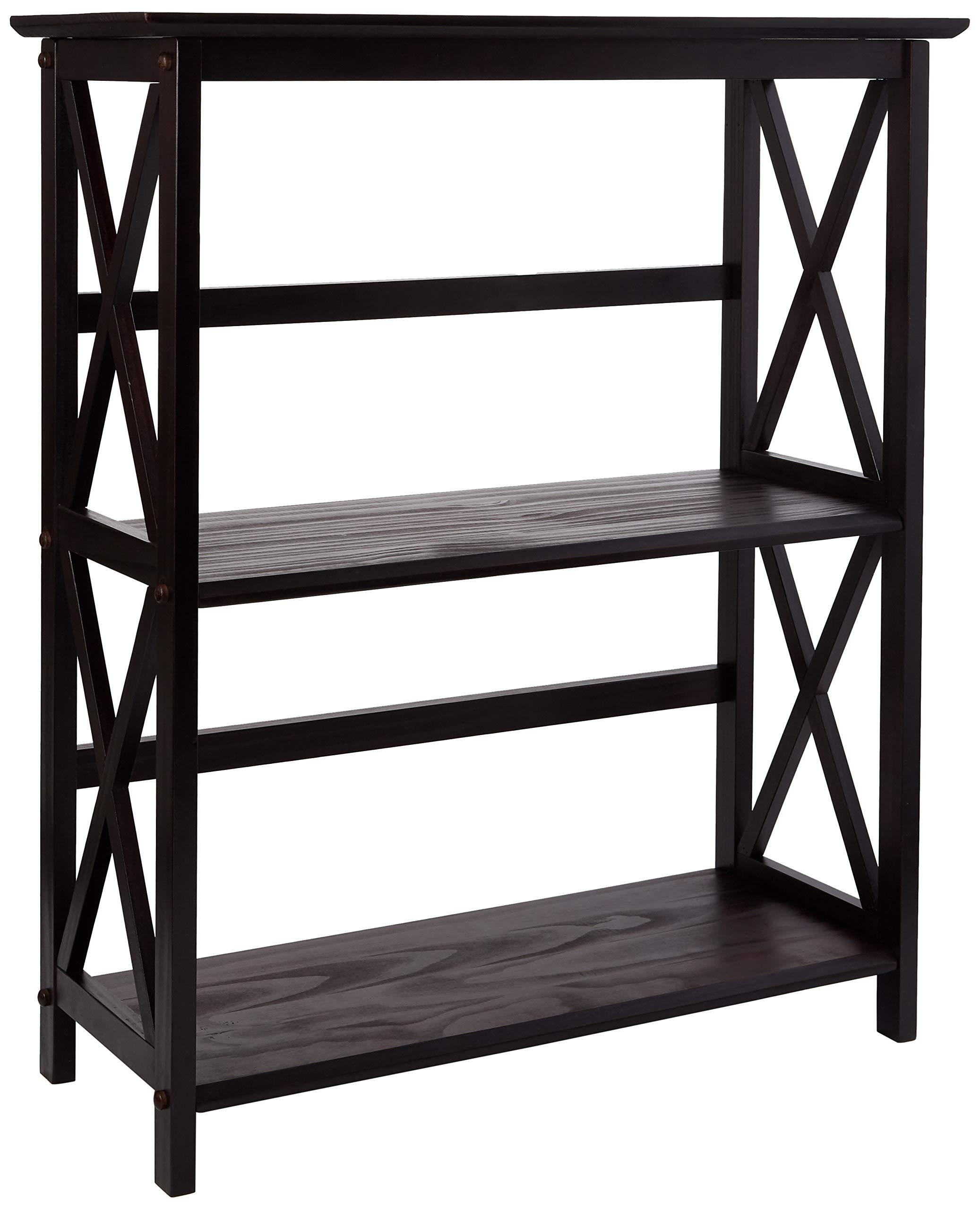Casual Home Montego 3-Shelf Bookcase-Espresso