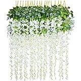 12pcs Artificial Fake Wisteria Vine Garland-GreenDec 3.6Ft/Piece Silk Wisteria Vine Ratta Hanging Flower for Home Garden Wedding Decor,(White)