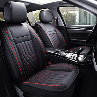 Aierxuan 5 Car Seat Covers Full Set with Waterproof Leather, Universal Fit for Most Sedan SUV (Black and Red, full set): Automotive