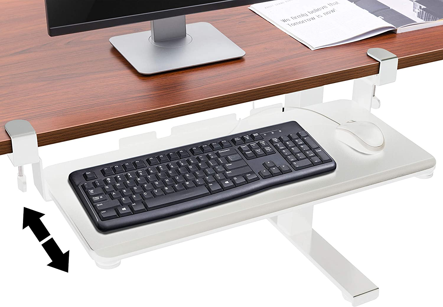 TechOrbits Under Desk Keyboard Tray Desk Extender White