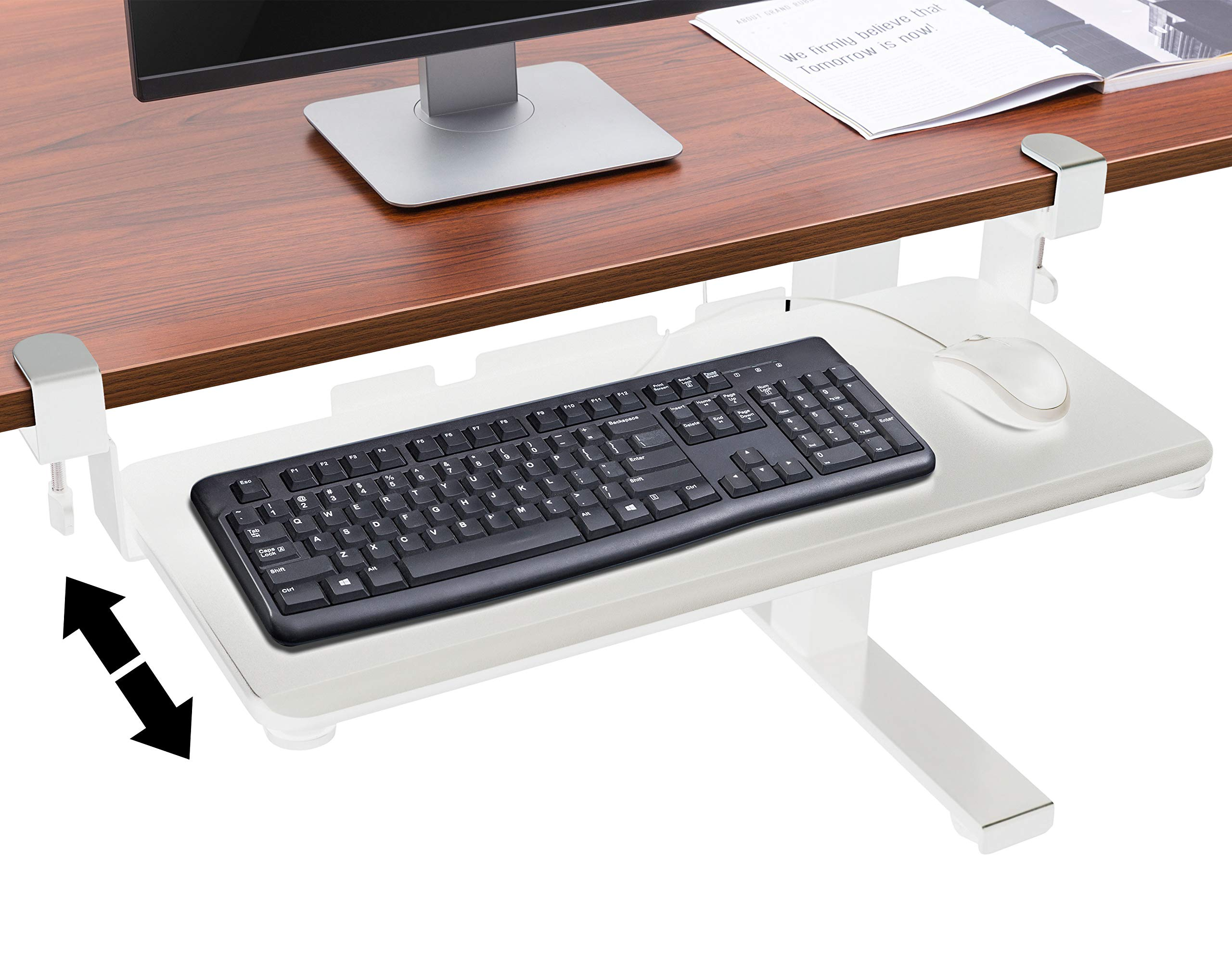 TechOrbits Under Desk Keyboard Tray Desk Extender White by TechOrbits