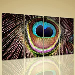 Extra Large Contemporary Livring Room Decor Print On Canvas Art Peacock Feather, Oversized Abstract Wall Art, Living Room, Sambuca