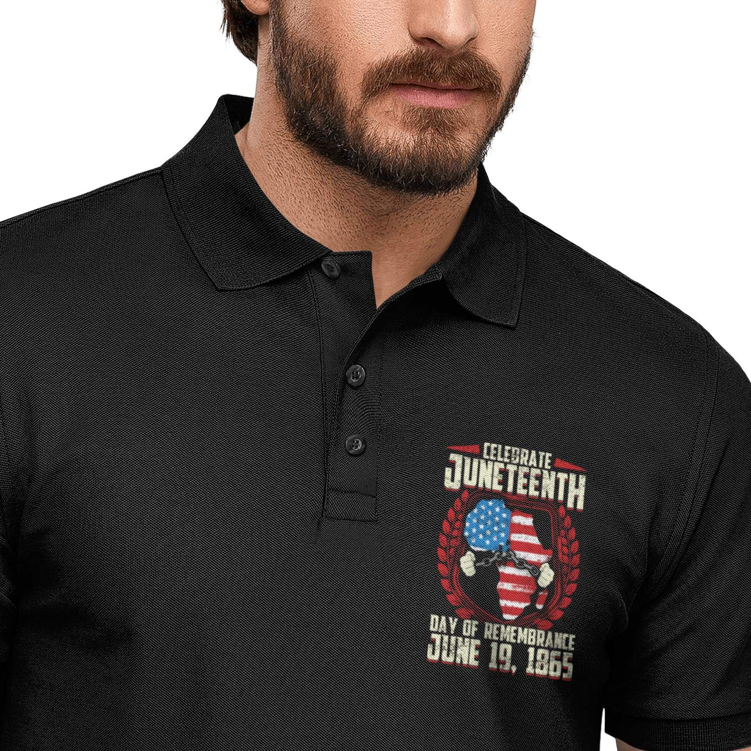 ChenBG Happy Juneteenth Day American Flag Chain Polo Shirts for Men Regular-Fit Cotton Short Sleeve Polo Mens Polo