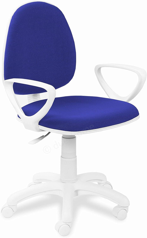 Adec - Dolphin, Silla de Escritorio giratoria, Silla Juvenil de Oficina, Color Azul, Medidas: 54 cm (Ancho) 54 cm (Fondo) x 79-91 cm (Alto)