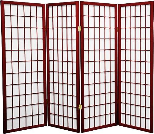 Oriental Furniture 4 ft. Tall Window Pane Shoji Screen – Rosewood – 4 Panels