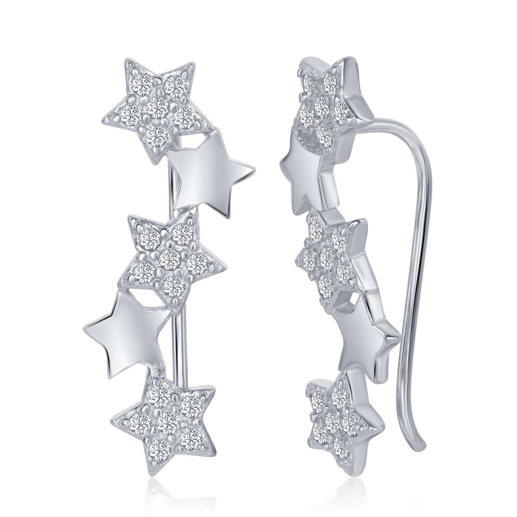 Sterling Silver 925 Cubic Zirconia Womens Ladies Girls Ear Pin Crawler Climber Stars Earrings