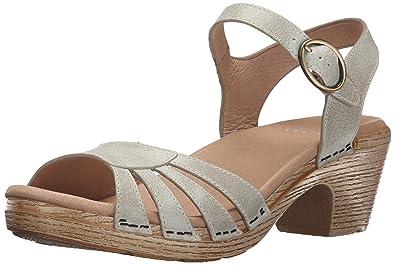 Dansko Women's Marlow Heeled Sandal, Oyster Washed Leather, 36 EU/5.5-6