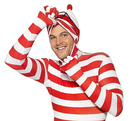 Smiffys - Disfraz de wally, pegado al cuerpo, color rojo y blanco ...