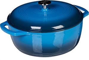 AmazonBasics Enameled Cast Iron Covered Dutch Oven, 6-Quart, Blue