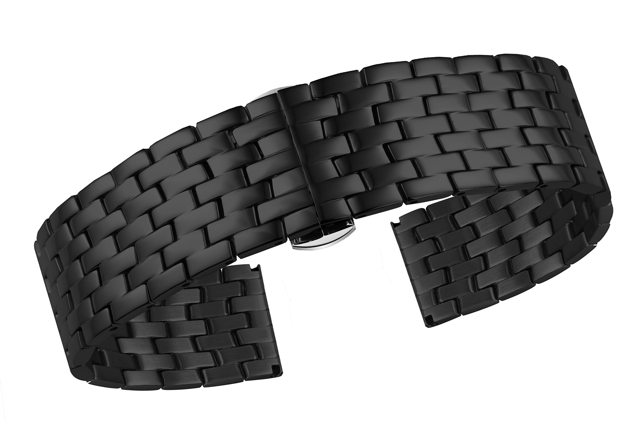 19mm High-Grade 316L Stainless Steel Watch Bands Black Solid Links with Double Locking Closure Buckle