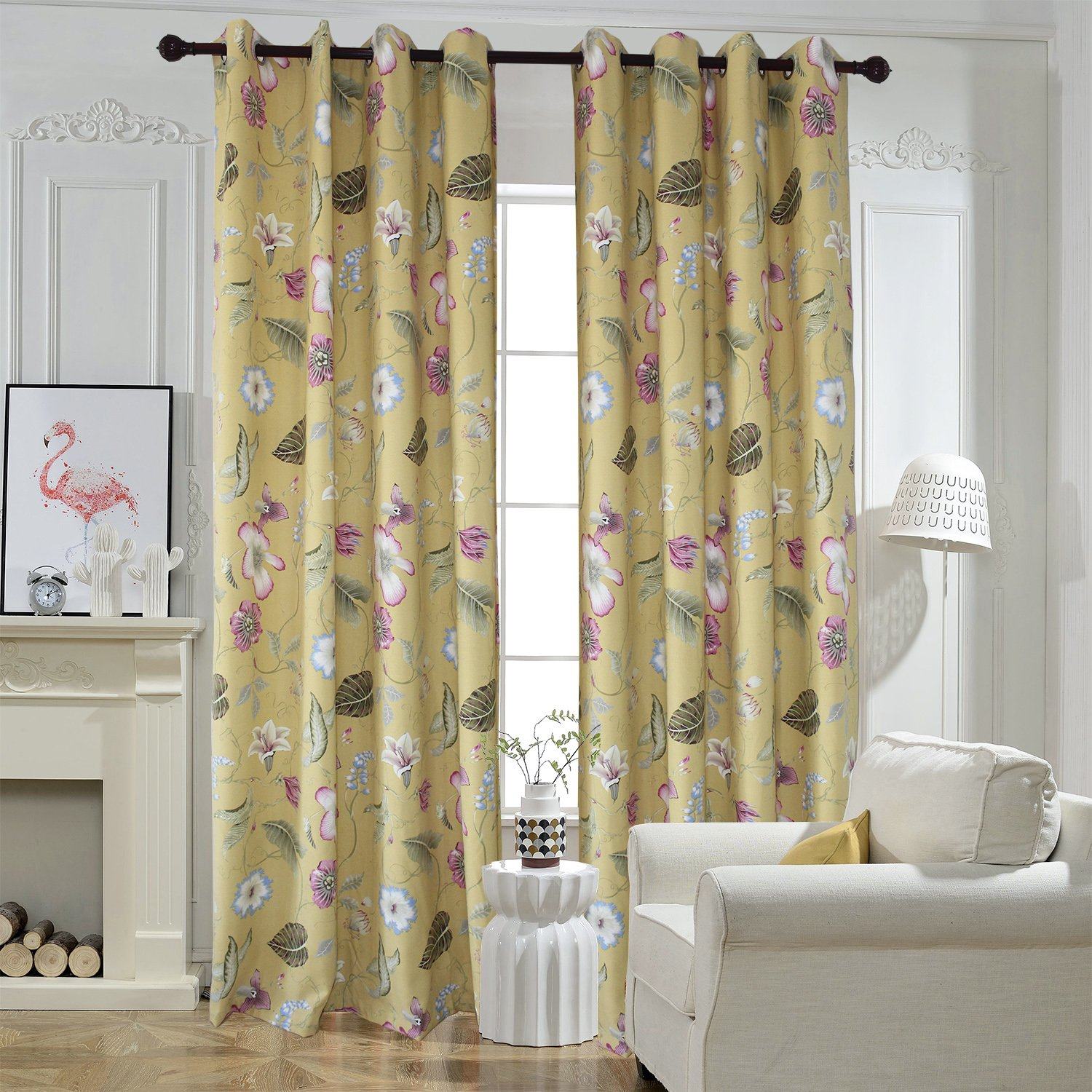 Flower Yellow Curtains For Livingroom - Anady Top 2 Panel Purple/Blue  Floral Curtains Drapes Grommet 50\