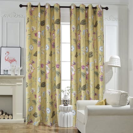 Flower Yellow Curtains For Livingroom - Anady Top 2 Panel Purple/Blue  Floral Short Curtains Drapes Grommet 42\