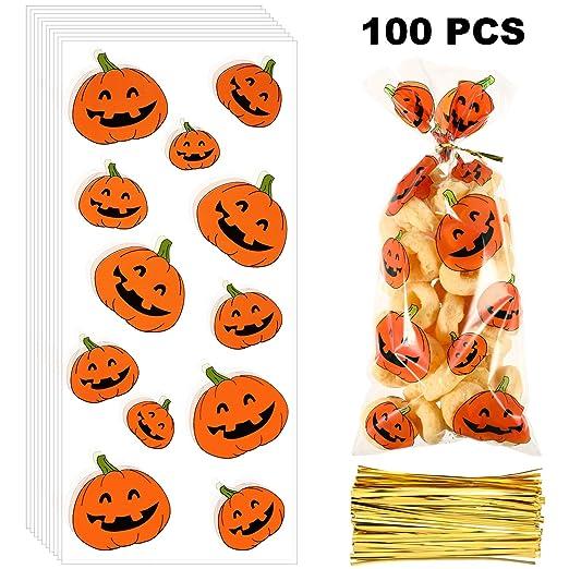 100 Piezas de Bolsas de Celofán de Navidad Halloween Bolsa de Tratamientos Transparente con 150 Piezas Precintos para Materiales de Fiesta (Estilo 13)