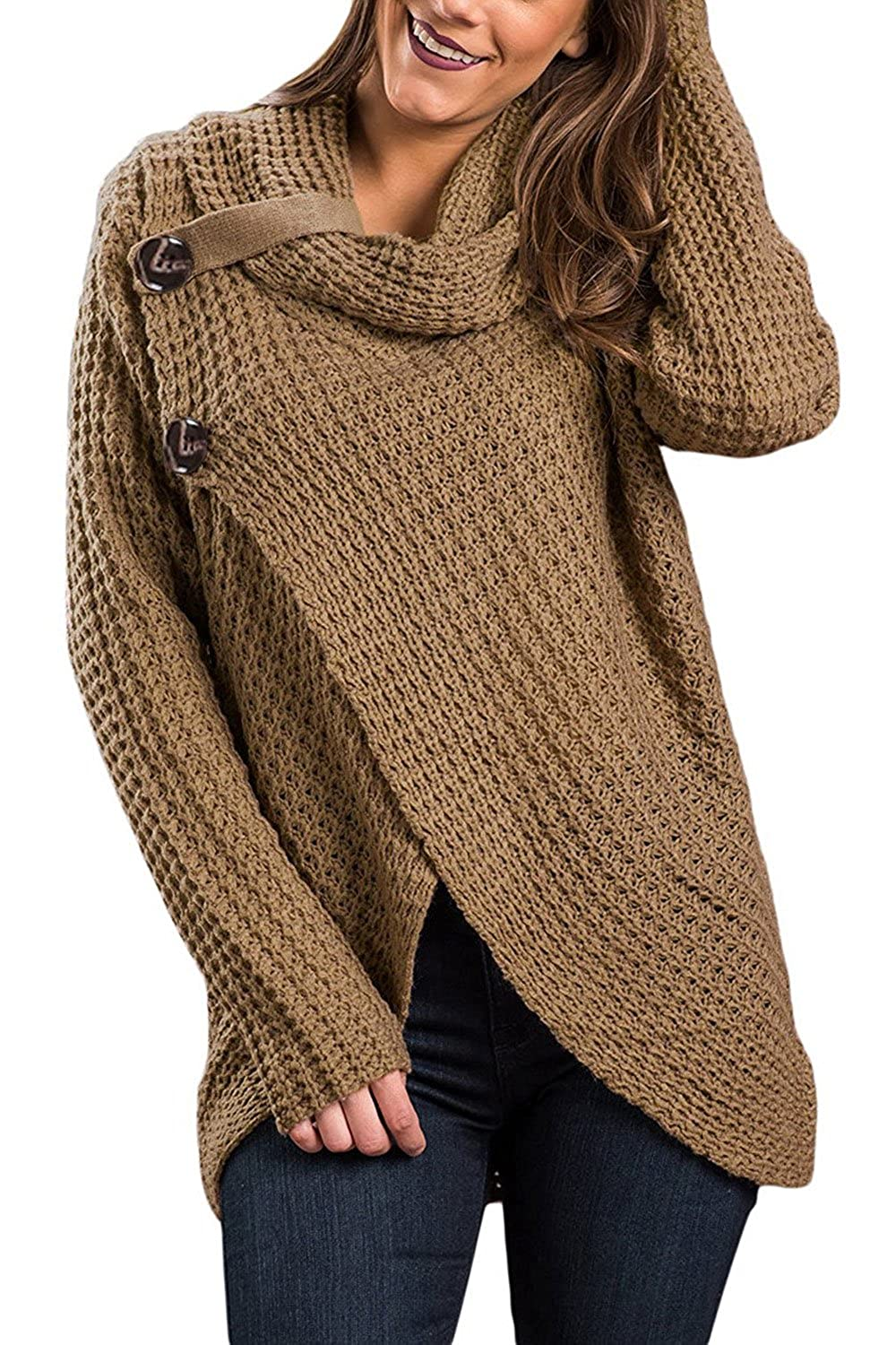 8e9631595 Women Chunky Turtleneck Sweater Button Poncho Capes Pullover ...