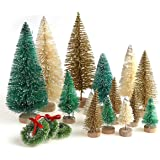 30 Pieces Miniature Sisal Frosted Christmas Trees Bottle Brush Mini Trees Plastic Tabletop Trees Ornaments for Christmas…