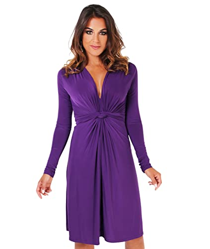 KRISP Women's Fashion Elegant Knot Front Soft Stretch Long Sleeve V Neck Dress US 4-16
