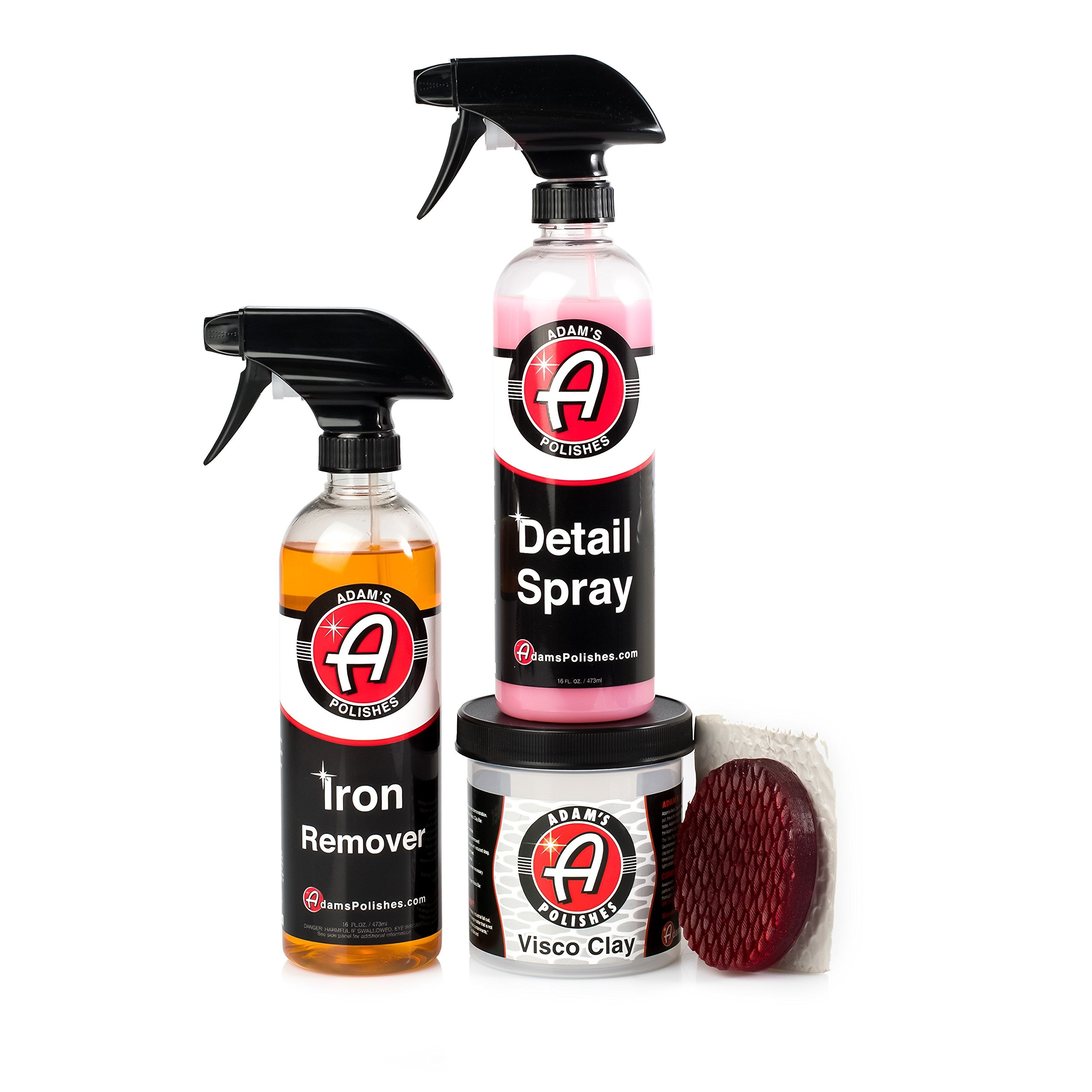 Adam's Iron & Decontamination Removal Kit - Dissolves Iron Particles Embedded Into Paint Surfaces - Visco Clay and Detail Spray Remove Other Bonded Contaminants