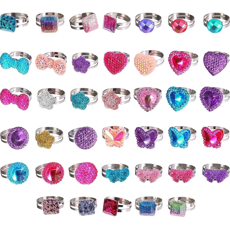 Starkma 36 Pc in Box Adjustable Kids Rings Imitation Gem Glitter Rings Jewel Rings for Kids Girls Birthday Gift Party Favors