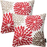Phantoscope New Living Red&Brown Series Throw Pillow Case Cushion Cover Dahlia Set of 2