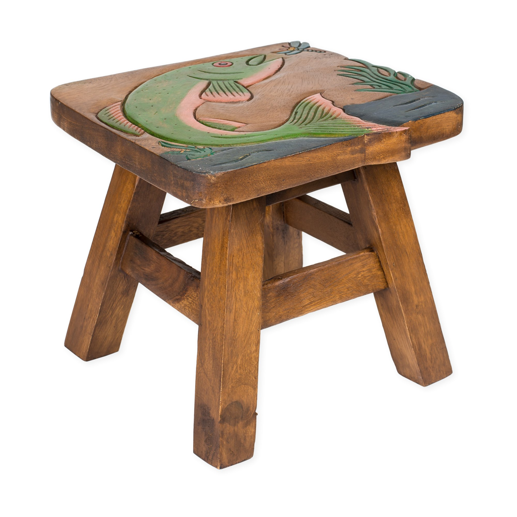 Jumping Trout Design Hand Carved Acacia Hardwood Decorative Short Stool