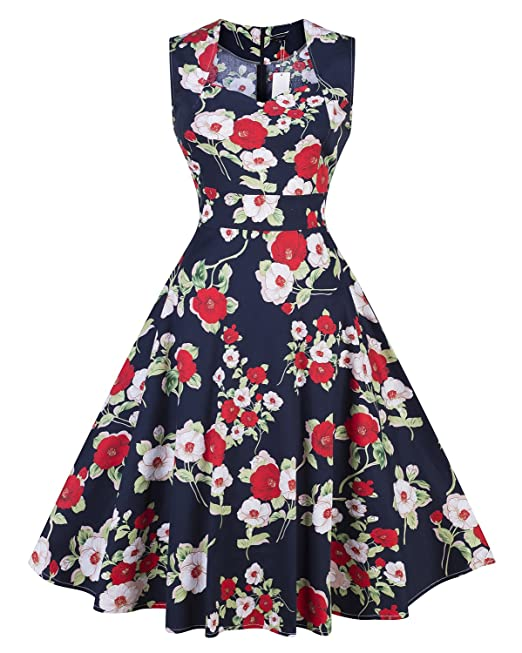 ZiXing Vestido Vintage 50s Rockabilly Audrey Sin Mangas Retro Cocktail Dress Azul Large