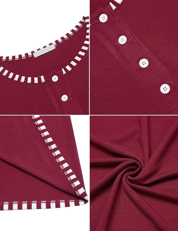 854b476f87de4 Vêtements de nuit MAXMODA Ensemble de Pyjama Femme en Coton Vêtements de  Nuit Chaud Hiver Pyjama T-Shirt avec Pantalon ...